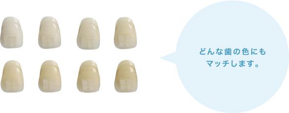 どんな歯の色にもマッチします